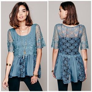 Free People FP X Viola Embroidered Lace Blouse Top